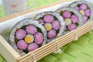 レシピ:お花の飾り巻き寿司 Recipe:  FLOWER SUSHI ROLL